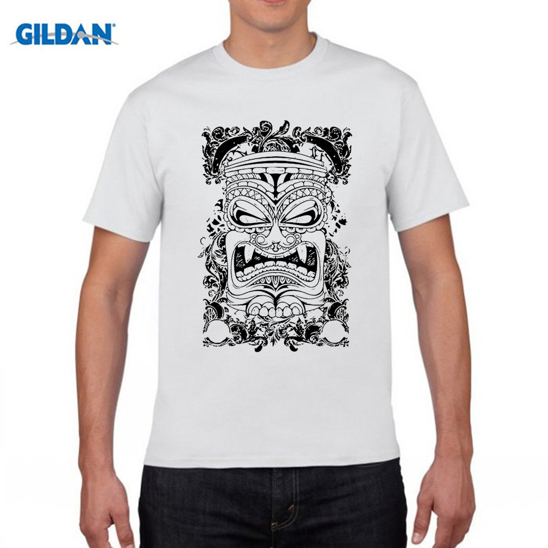 GILDAN designer TIKI FACE - island tropical paradise - Mens Cotton T-Shirt Apparel birthday t shirts