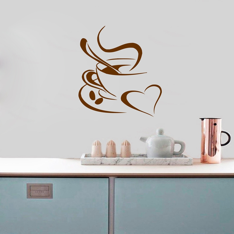 Kitchen Wall Sticker Coffee , Coffee Cup With Heart Kitchen Vinyl Wall Art  Decor Decal Stickers Free Shipping 25x22cm In Wall Stickers From Home U0026  Garden On ...