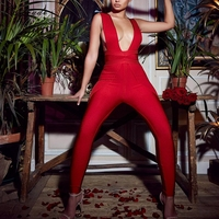 Ocstrade Summer Sexy Jumpsuit Clubwear 2019 New Arrival Women Hollow Out Red Rayon Bodycon Bandage Jumpsuit Spandex