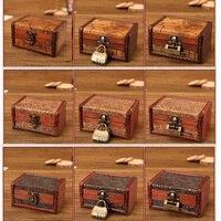 Zakka винтажный декоративный чемодан для хранения маленькая Ретро деревянная коробка шкатулка замок настольная отделка ящиков для хранения ...
