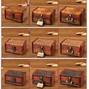 Zakka jewelry box Vintage wooden box Storage decorative suitcase small retro casket lock Desktop storage box finishing(China)