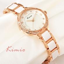KIMIO Flor Del Ciruelo Dial Esqueleto Sauce Puntero Correa de Resina de Cerámica Imitación Diamante Rosa Reloj de Oro de Mujer de Marca de reloj de Cuarzo