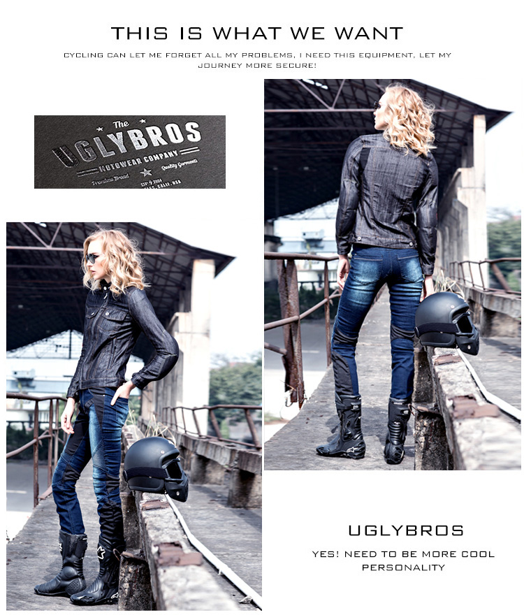 uglyBROS JUKE Women mesh motorcycle racing pants jeans denim trousers Slim Black Blue 2 colors autumn winter women fashion ruffles flared jeans boot cut bell bottom jeans denim female trousers cute flare slim denim pants