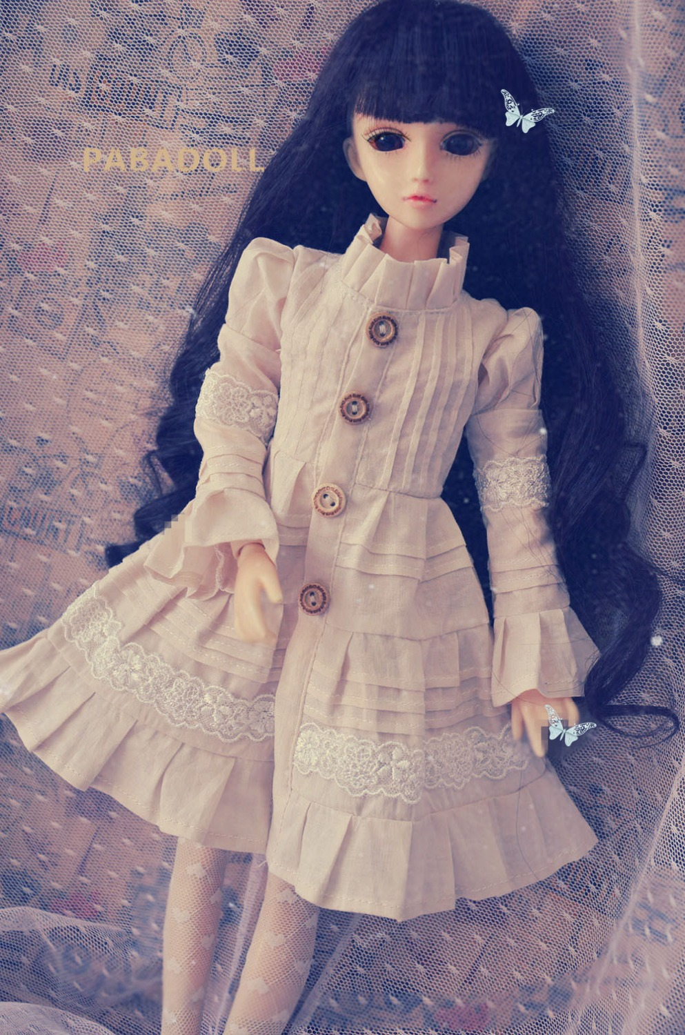 New Vintage Forest Beige Dress Dress for Bjd doll 1/4 MSD,1/3,SD10 SD13,SD16 IP EID Luts DOD,SD Doll Clothes CWB90 new handsome fashion stripe black gray coat pants uncle 1 3 1 4 boy sd10 girl bjd doll sd msd clothes