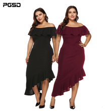 PGSD Autumn Big Plus size women clothes Slash neck Irregular Lotus leaf frills Simple Pure color dress female fashion XXXL