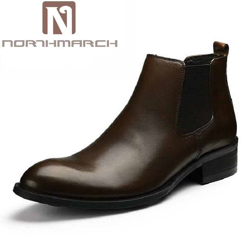 NORTHMARCH Brown Outdoor Chelsea Boots Mens Black Genuine Leather Ankle Autumn Winter Boots Round Toe Casual Dress Men botas large size eur45 brown black pointed toe serpentine chelsea boots mens ankle boots genuine leather boots mens dress shoes
