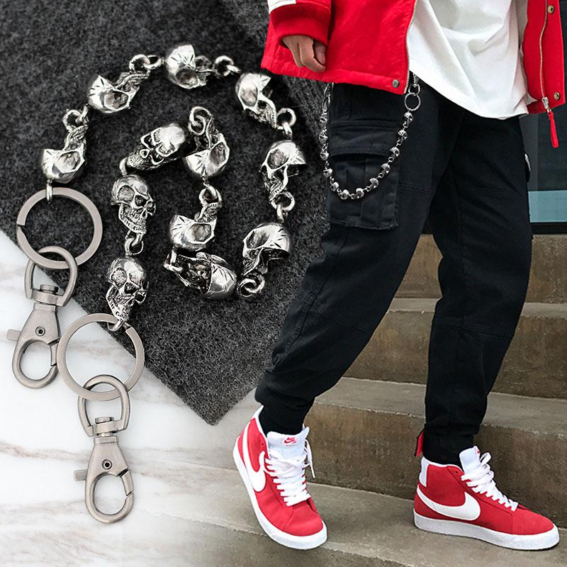 59CM Men's Waist Key Chain Skull Head Metal Vintage Hip Hop Gothic Punk Skeleton Pants Trousers Jean Biker Wallet Key Ring DW55