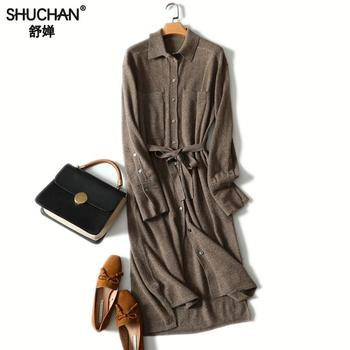 Shuchan 100% Cashmere sweater dress High Quality 2018 Winter Women Long Knitted Dresses Female With Belt Turn-down Collar outfits para playa mujer 2019