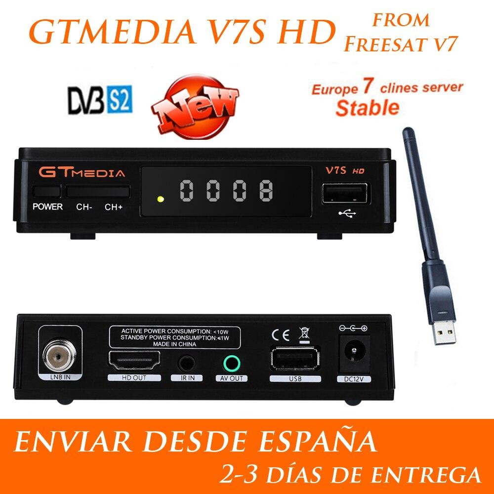 1 an Europe 7 Clines serveur GTMedia V7S HD récepteur Satellite numérique DVB-S2 V7S HD Full 1080 P + USB WIFI mise à niveau Freesat V7