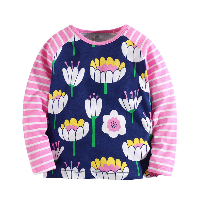 Baby flowers Tshirts Girls children brand baby clothes Knitted t shirt girl fashion Tees 3-12 years Autumn spring kids blouses new hot sale 2016 korean style boy autumn and spring baby boy short sleeve t shirt children fashion tees t shirt ages