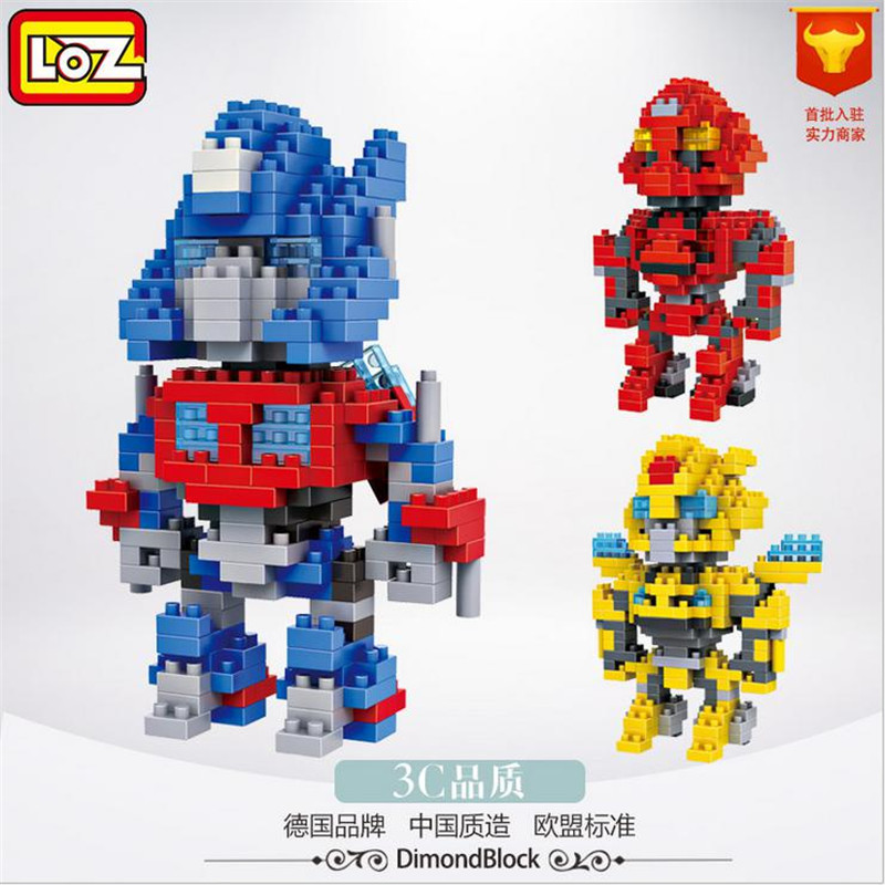 LOZ Mini Block Action Figures Transformation Change Robot Building Block 4 Juguetes Diy Model Educational Baby Gifts Toys 9401 loz 9402 transformation optimusprime diamond bricks minifigures building block best legoelieds toys