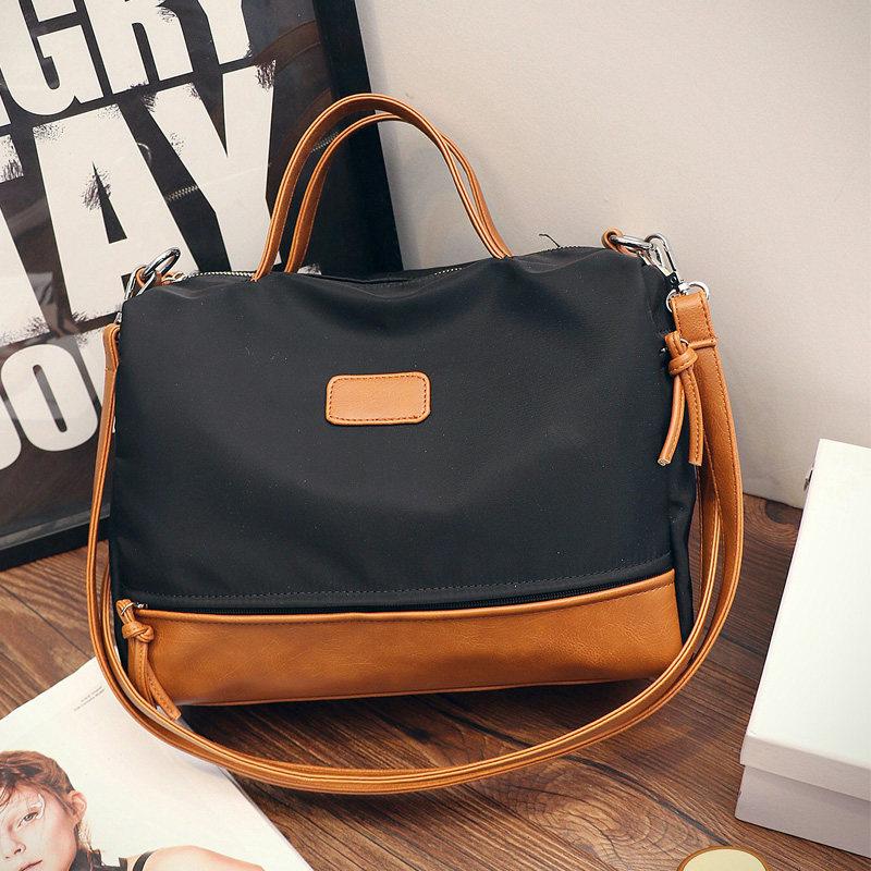 Trnedy Color matching Canvas font b Handbag b font New Fashion Casual Motorcyle Bag Designer Contrast