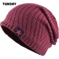 TQMSMY Men Winter Hat Knitted Beanie Skullies Women Label Red Star Caps Beanies Hats For Men