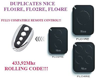 remote control duplicator Nice FLO1RE, FLO2RE, FLO4RE Compatible Remote control / 433.92Mhz rolling code Clone
