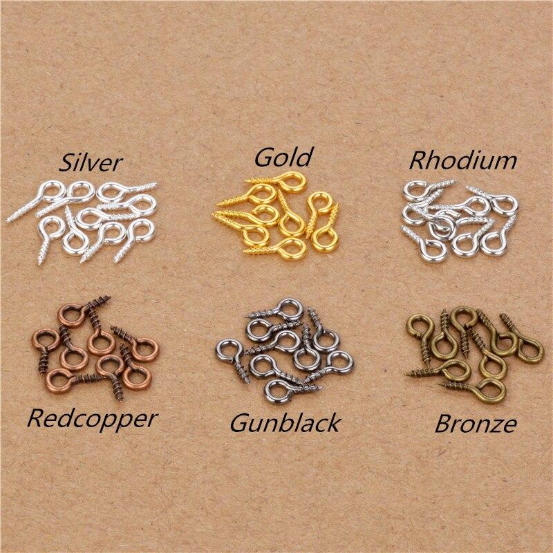 200pcs 4x8mm/5x10mm Mini Eye Pins Hooks Eyelets Screw Threaded Metal Jewelry Pendant Clasps DIY Jewelry Making Accessories