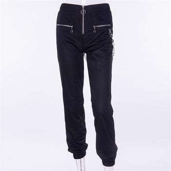 Gothic harajuku zipper streetwear women casual harem pants with chain solid black pant cool fashion hip hop long trousers capris 5