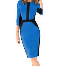 2017 Plus Size Modern Spring Autumn High Quality Half Sleeve Blue Color Blocks Patchwork Office Pencil Dress Vestido Feminino