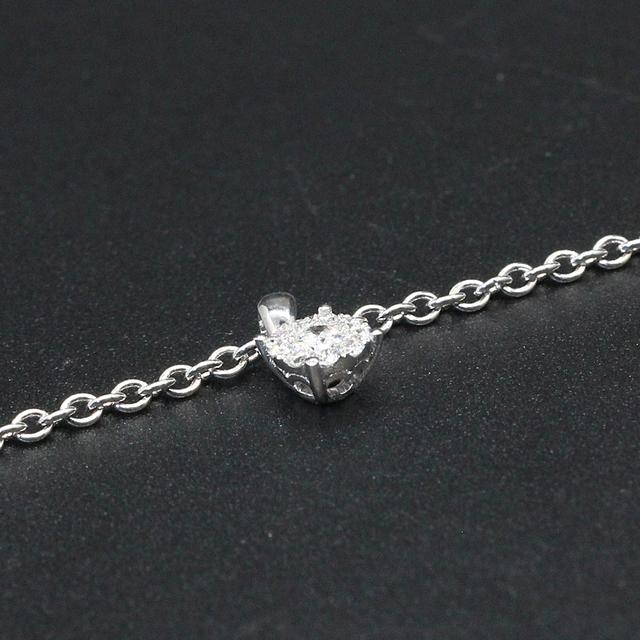0.2CT Real Diamond 18K White Gold Pendant Necklace