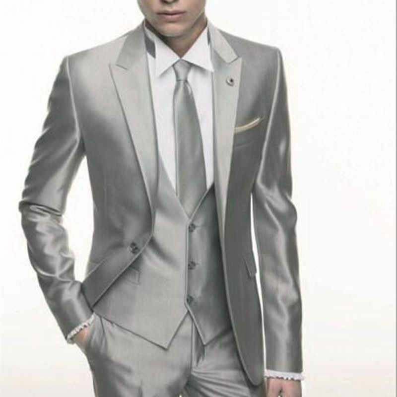 Silver Grey Satin wedding Men Suit 2020 Formal Skinny Stylish Male Blazer Party Custom Tuxedo 3 Piece Vestidos mens suits