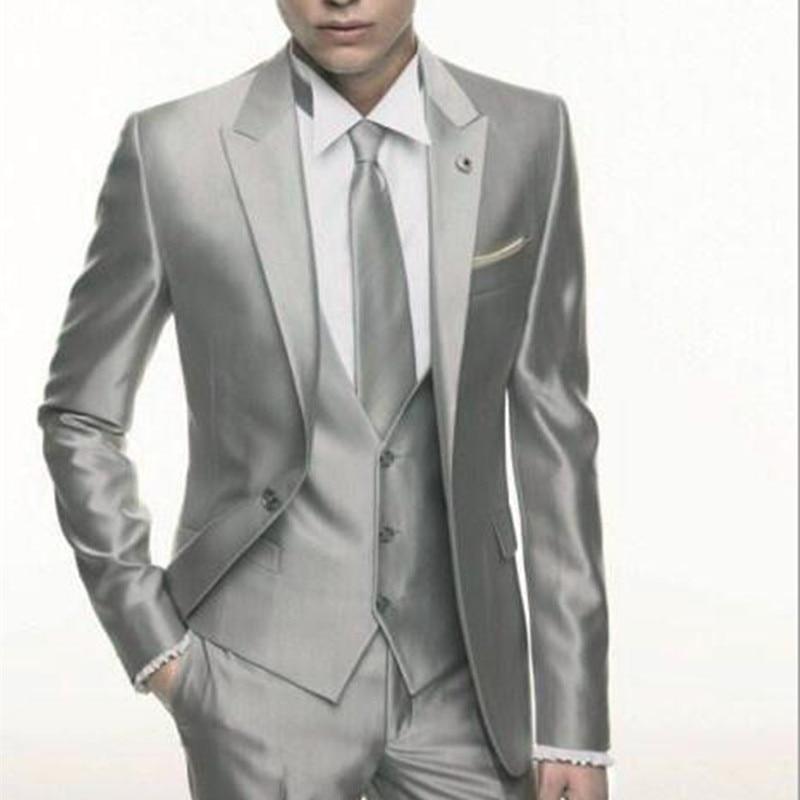 Silver Grey Satin Wedding Men Suit 2020 Formal Skinny Stylish Male Blazer Party Custom Tuxedo 3 Piece Vestidos Mens Suits