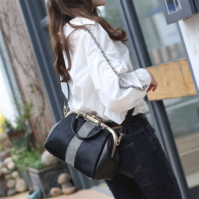 Fashion Brand Leather Fur Soft Real Leather Women Handbag Two Pieces Female Shoulder Bag Girls Messenger Bag Casual Women bag in Shoulder Bags from Luggage Bags