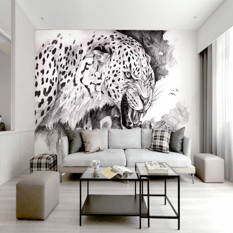 Us 124 38 Offdropshipping Fatman Photo Wall Mural Wallpaper For Bedroom Walls Black And White Sketch Fashion Leopard Wallpaper Tapety 3d In