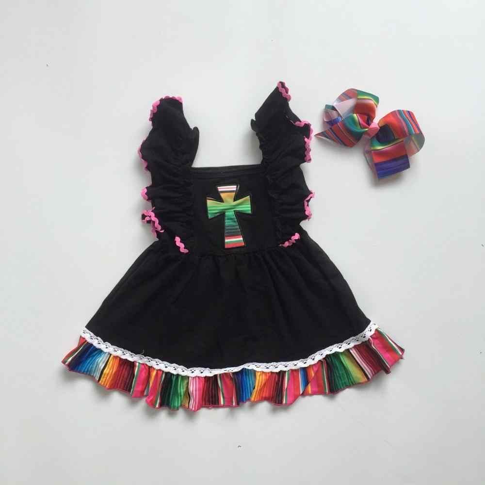 Hàng mới về đen Chúa Giêsu chéo serape Đầm không tay cho bé trẻ em mặc bé gái Boutique quần áo phù hợp với phụ kiện đầu gối Chiều dài