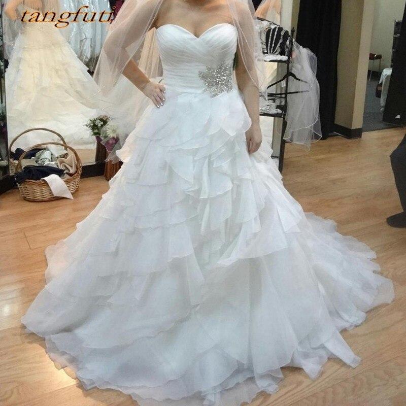Robes de mariée Vintage une ligne longue à volants dos nu robes de mariée de mariée robes de mariée robe de mariée vestido de noiva 2018