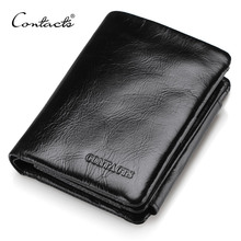 CONTACT'S Men Wallet Design Men Trifold Wallets Fashion Purse Card Holder Wallet Man Genuine Leather With Zipper Coin Pockets