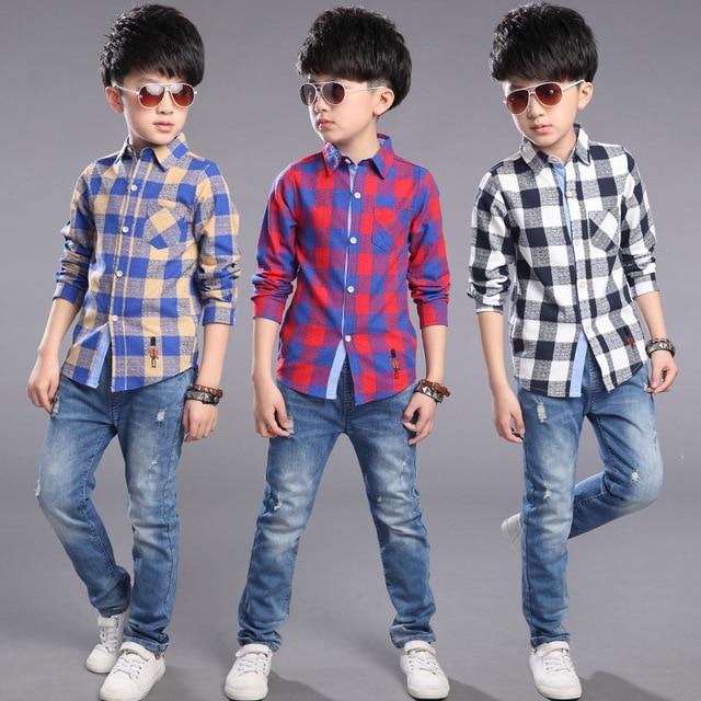 Kids Boys Spring & Autumn new long-sleeved plaid shirt 2017 fashion baby boy clothing big virgin shirt 5/6/7/8/9/10/11/12 years