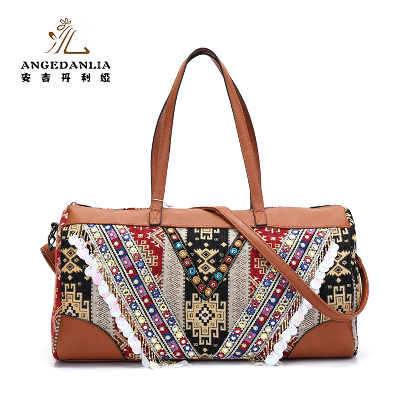 women handmade Bohemian Boho hippie bucket Handbag flower pattern Embroidery shoulder bag Cotton Fabric national ethnic bags metting joura vintage bohemian ethnic tribal flower print stone handmade elastic headband hair band design hair accessories