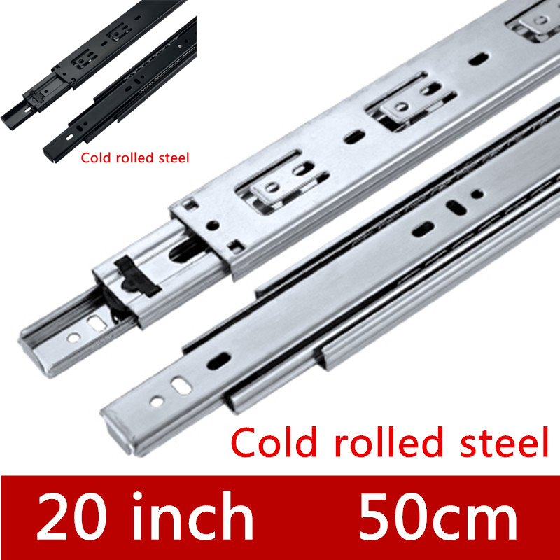 2 Pair 20 inches 50cm Furniture Slide Three Sections Slide Drawer Track accessories Guide Rail for Hardware Fittings special drawer rails 4510 high quality drawer track mute slide three ball slide rail