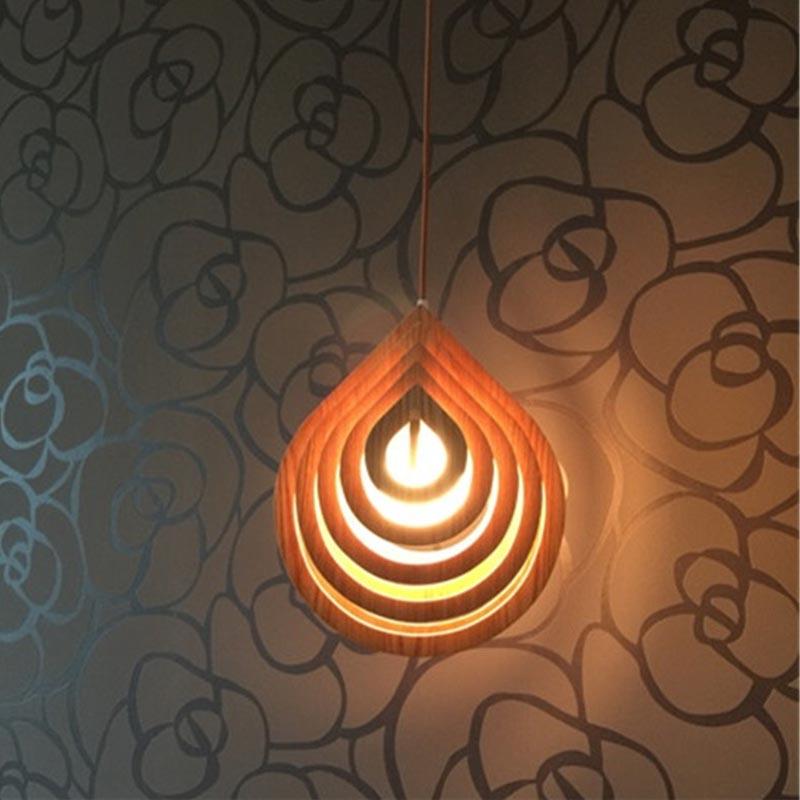 BDBQBL Wood LED Pendant Lights Modern 110V-240V E27 Bedroom Hanglamp Creative Hanging Lamp Living Room Restaurant Pendant Lamp