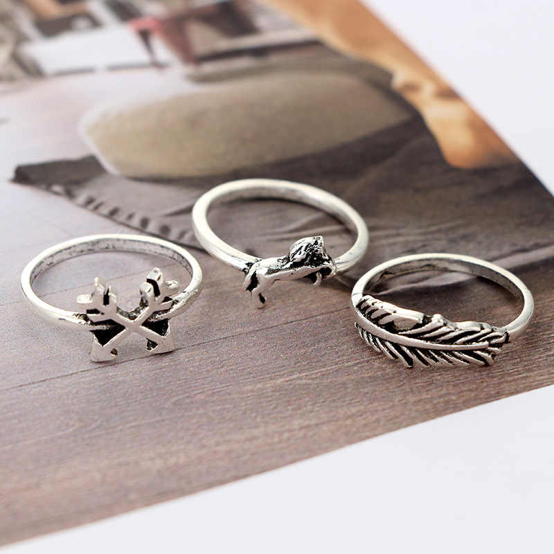 Hohe Qualität alten Vintage 12 teile/satz Kaktus Elefant Fuchs Ringe Set Böhmen Aushöhlen Vogel Lion Form Geschnitzt Midi Finger Ringe Set