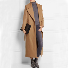 Must Have Fashion Ultra Long Double Breasted Women Woolen Jacket, Extra Long Camel Trending Wool Coat