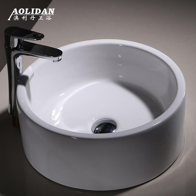 2017 Shampooing Puits Évier Rideau De Douche Rideau De Douche Cortina Ducha En Céramique Bassin Lavabo Rond Art Comptoir Wc Lavage
