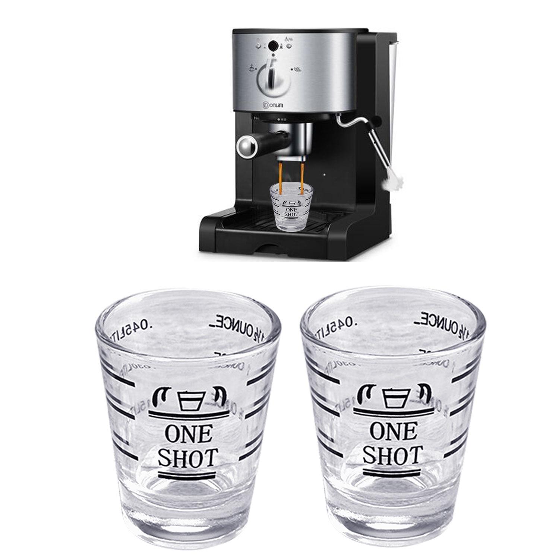 Behogar 2pcs 45ml 1.5oz Clear Glass Jigger Measuring Cup With Ml Oz 2 Measurement Unit For Home Espresso Wine Tools