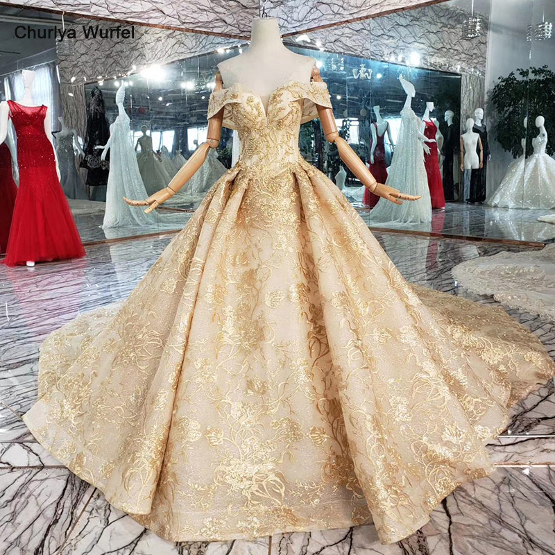 HTL366 Golden Lace Wedding Dresses With Royal Train Off