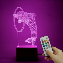 Novelty Remote Control 3D illusion Led Night Light 9 colors dolphin Touch Button Table Lamp USB Charge Kid's Gift Decor lights