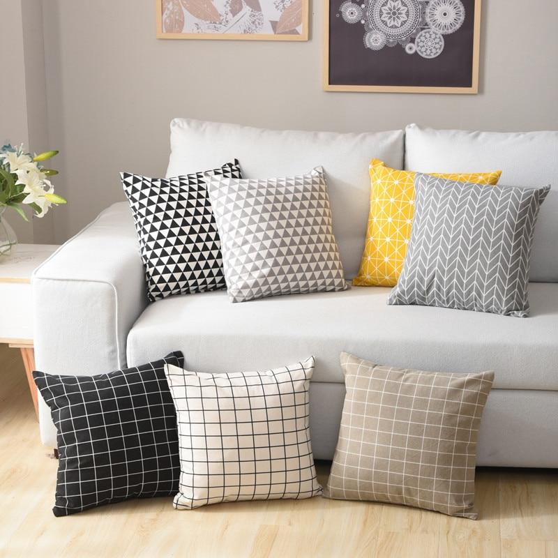 """45x45 cm/17,72 17,72 x """"funda de cojín geométrico de lino de algodón funda de almohada decorativa funda de almohada para el hogar"""