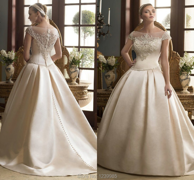 Casablanca Wedding Dress 2016 Scoop Cap Sleeves Beading Lique Ball Gown Court Train Gowns Bridal