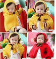 2017 Autumn and winter free shipping fashion baby child warm set gloves headband cape for 1-5years old