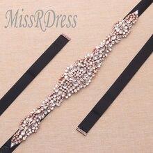 MissRDress Rhinestones Bridal Belt Luxury Crystal Wedding Belt Rose Gold  Diamond Bridal Sash For Wedding Bridesmaid Dress JK830 ea417d0f7b9d