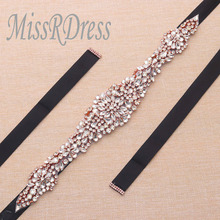 MissRDress Rose gold beads bridal belt crystal rhinestones ribbons wedding dress belt for women