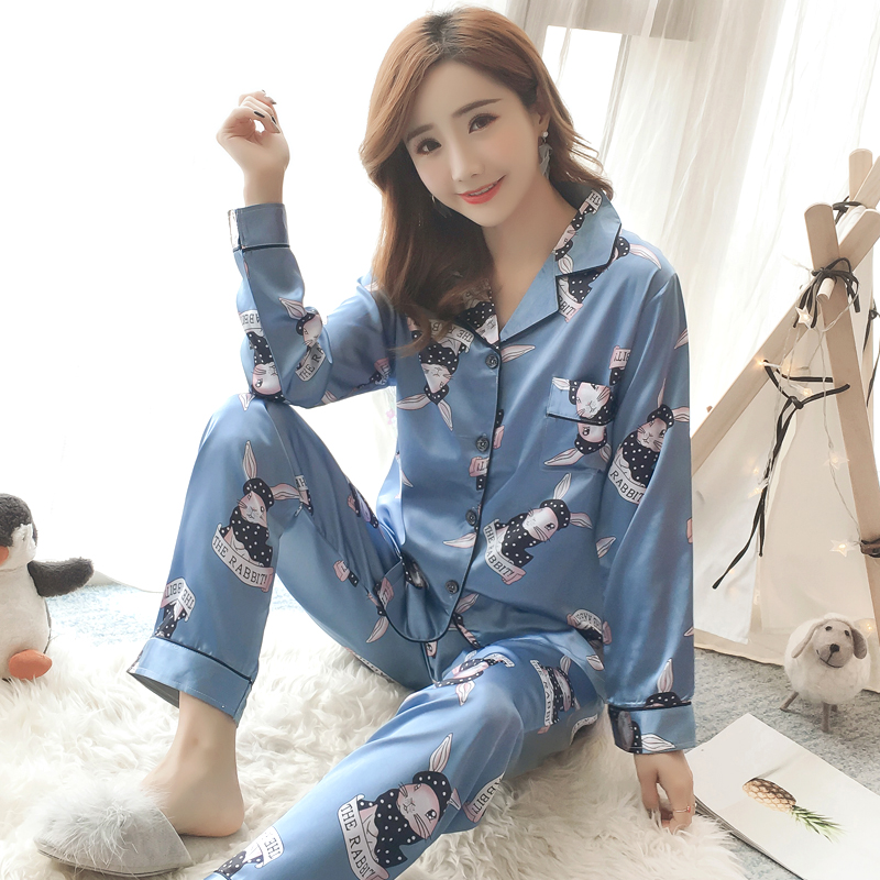2018 Autumn Women elegant Pyjamas Silk cartoon print   Pajamas     Set   NightSuit Sleepwear Suits Long Pant Night Comfortable homewear