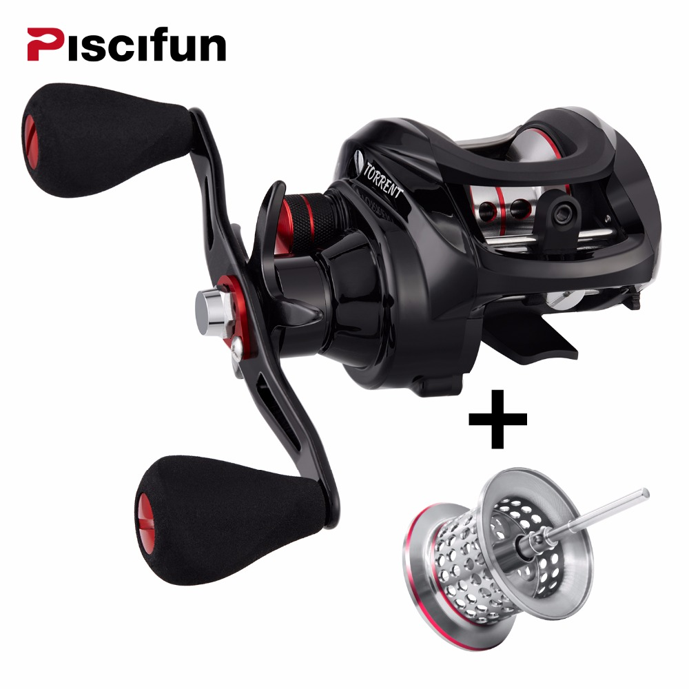 Piscifun Torrent Baitcasting Reel With Extra Light Spool 8.1kg Carbon Drag 7.1:1 Gear Ratio Saltwater Freshwater Fishing Reel piscifun saex elite baitcasting fishing reel with extra spool right left hand 13bb 7 3 1 167g super light casting fishing reel