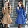 Горячая продажа Высокого качества 2017 женщин зимы добавить толстые шерстяные пальто однобортный лоскутное рябить дизайн длинное пальто
