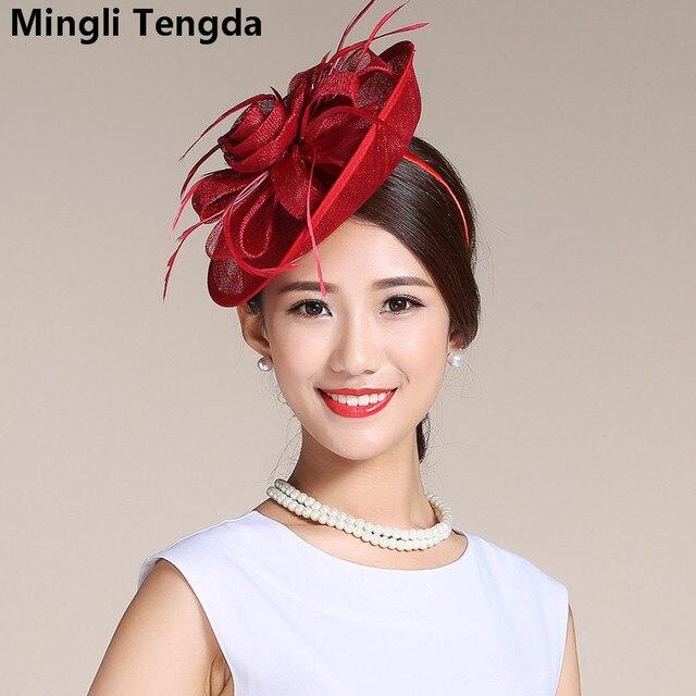 2018 New Sweet Small Bridal Hat Elegant Ladies Hats Linen Wedding Hats and Fascinators  Bridal Hair Accessories Mlingli Tengda fcccfeb4816