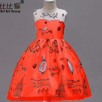 Elegant Girls Printed Sleeveness Dresses Silk Chiffon Christmas Dress Girls Wedding Party Dress For Children S