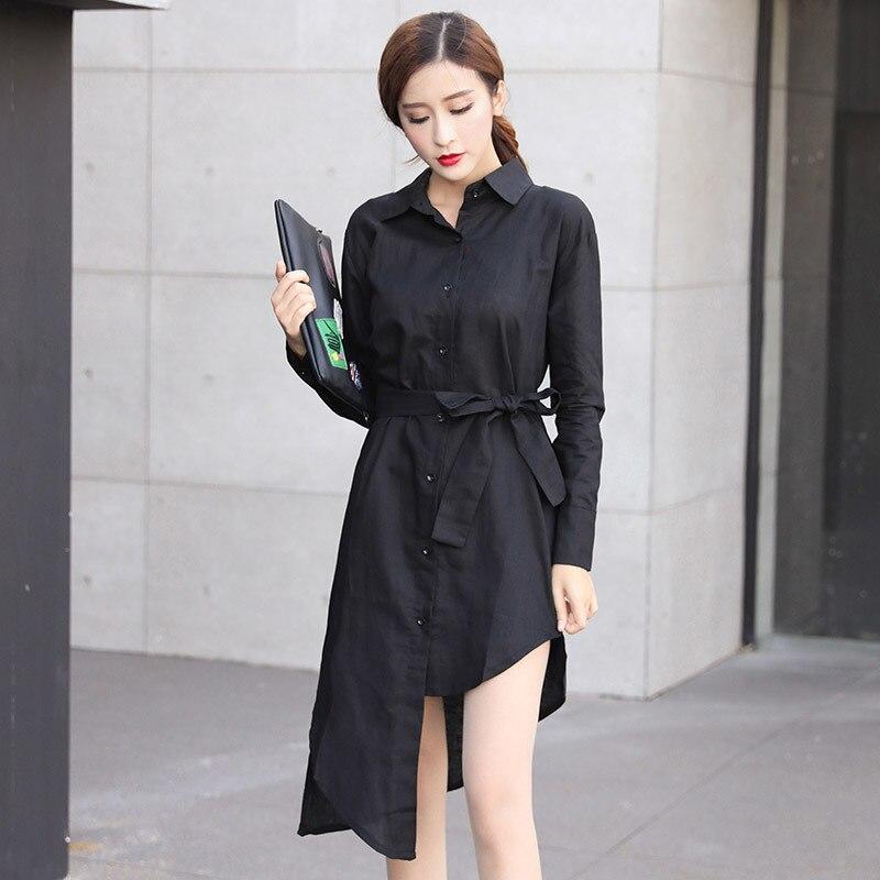Chemise Noir Solide Style Ol white 2018 Ac6496 Blanc Black Bandage Blouse Ourlet Femmes Asymsay Irrégulière Taille Longues Manches Tops À Coréenne Printemps 7wqvq5dC